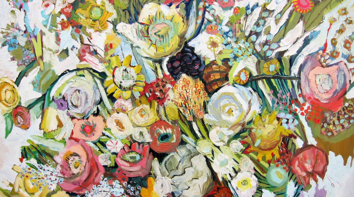 A painting of flowers.
