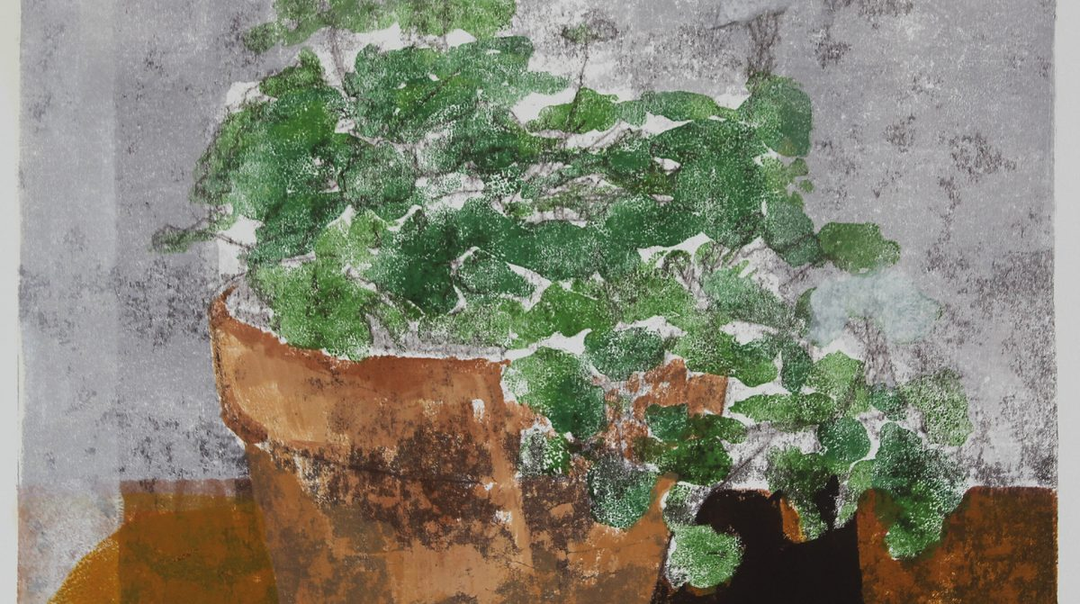 A painting of a green plant in a pot.
