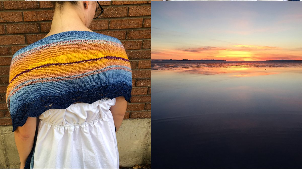 Two images of a knitted shawl and a beach sunset.