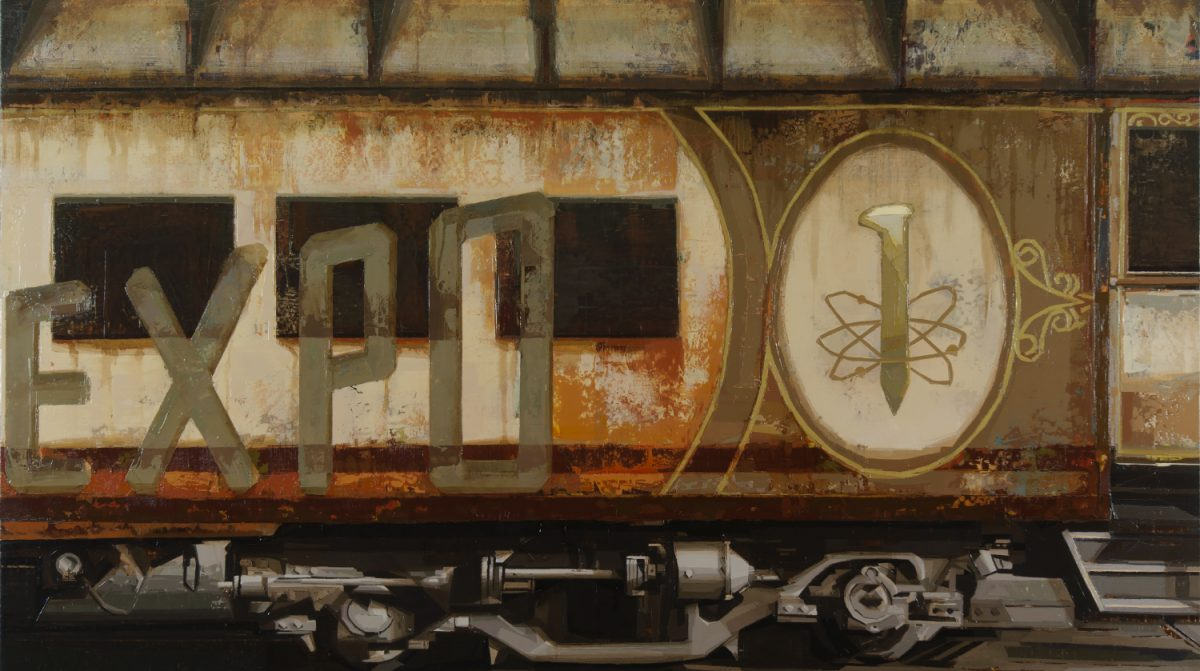 """A painting of a railcar with the for """"EXPO"""" on it."""