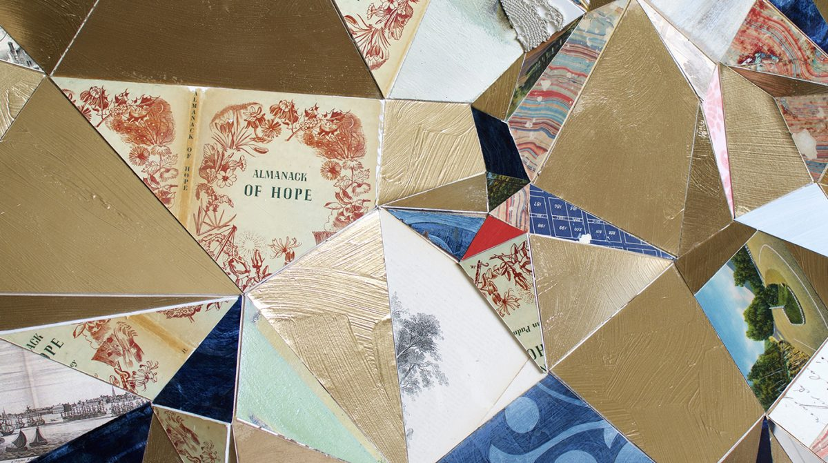 A geometric, collaged art piece.