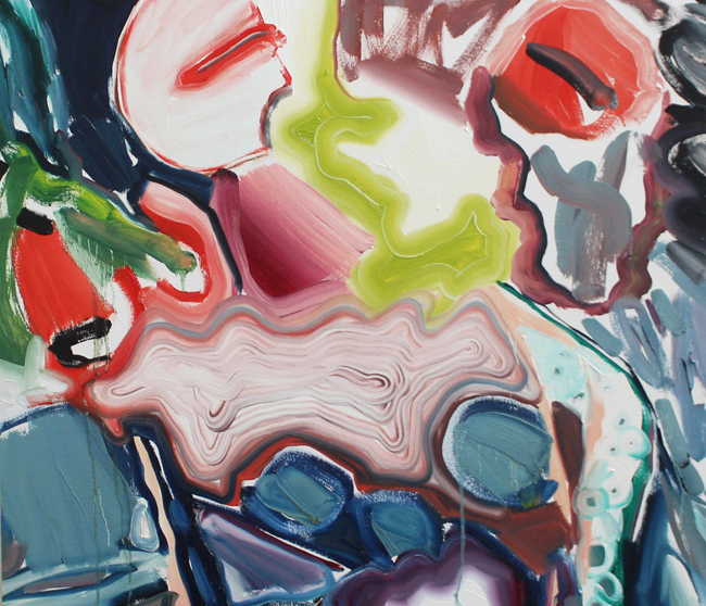 A colorful, abstract painting.