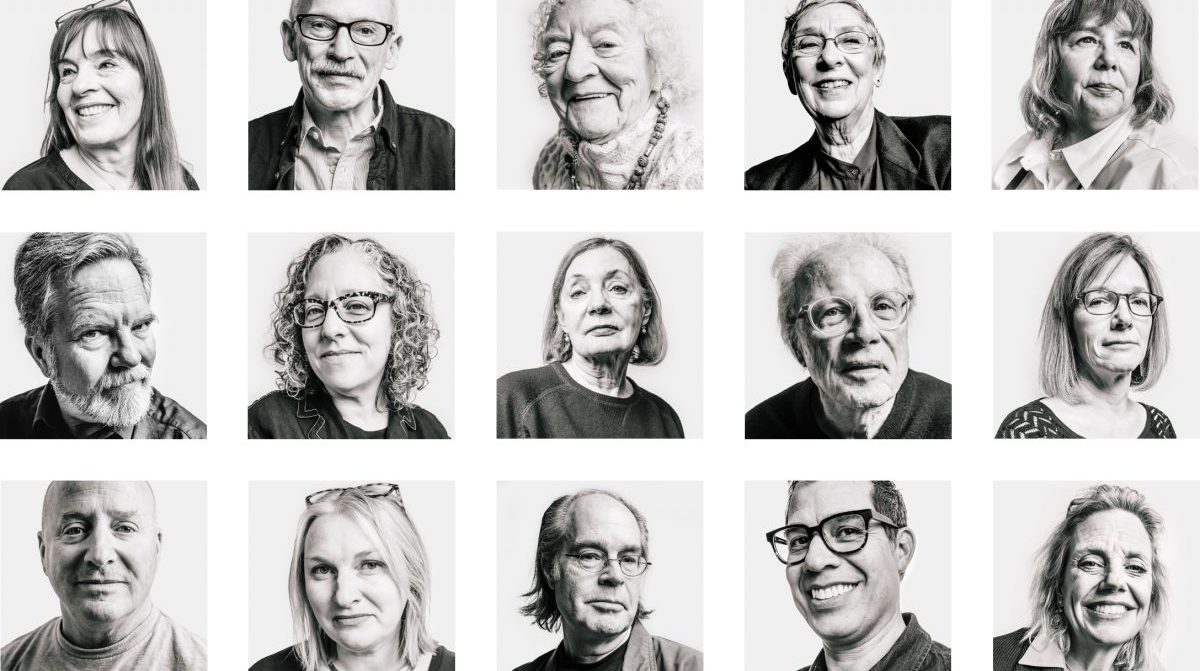 A 5 by 3 grid of black and white photos of people.