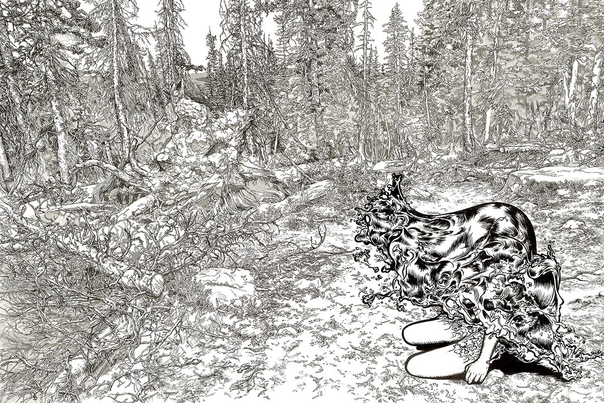 A black and white illustration of a half-human, half-water figure in a forest.