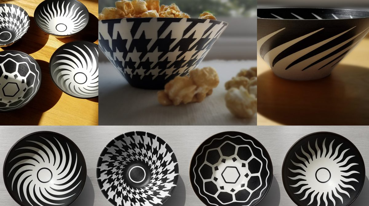 Images of black and white bowls with geometric designs.