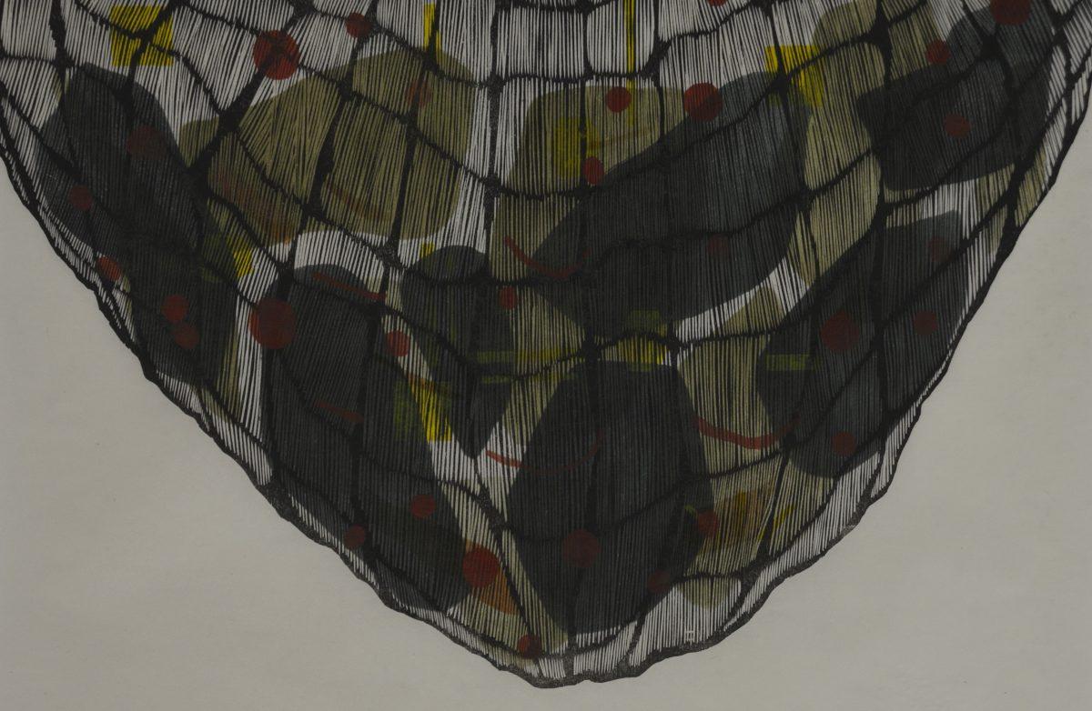 Am art piece resembling a net with dark green shapes inside.
