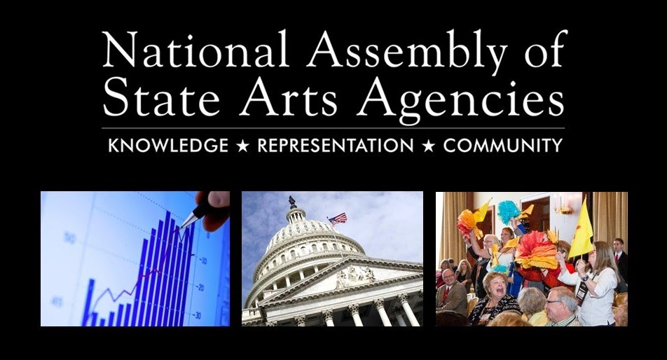National Assembly of State Arts Agencies logo with photos of a bar graph, the U.S. Capitol, and people celebrating in a meeting.