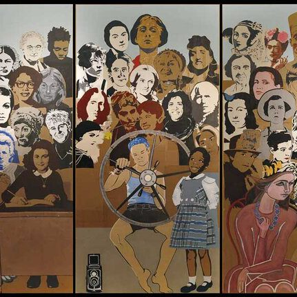 A mural depicting a variety of notable women from history.