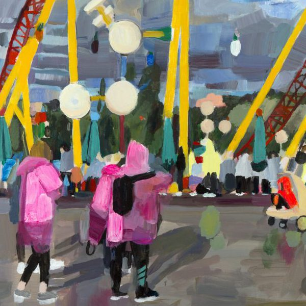 A painting of people in brightly colored clothing in an amusement park near a roller coaster.