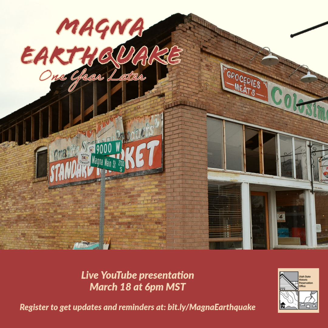"""A brick building with earthquake damage with the text """"Magna Earthquake One Year Later."""""""
