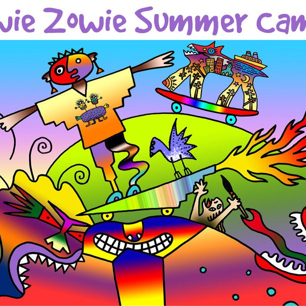 """A colorful digital illustration that reads, """"Wowie Zowie Summer Camps 2021."""""""