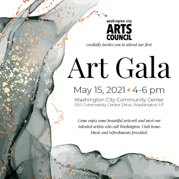 A graphic advertising the Washing City Arts Council Art Gala.