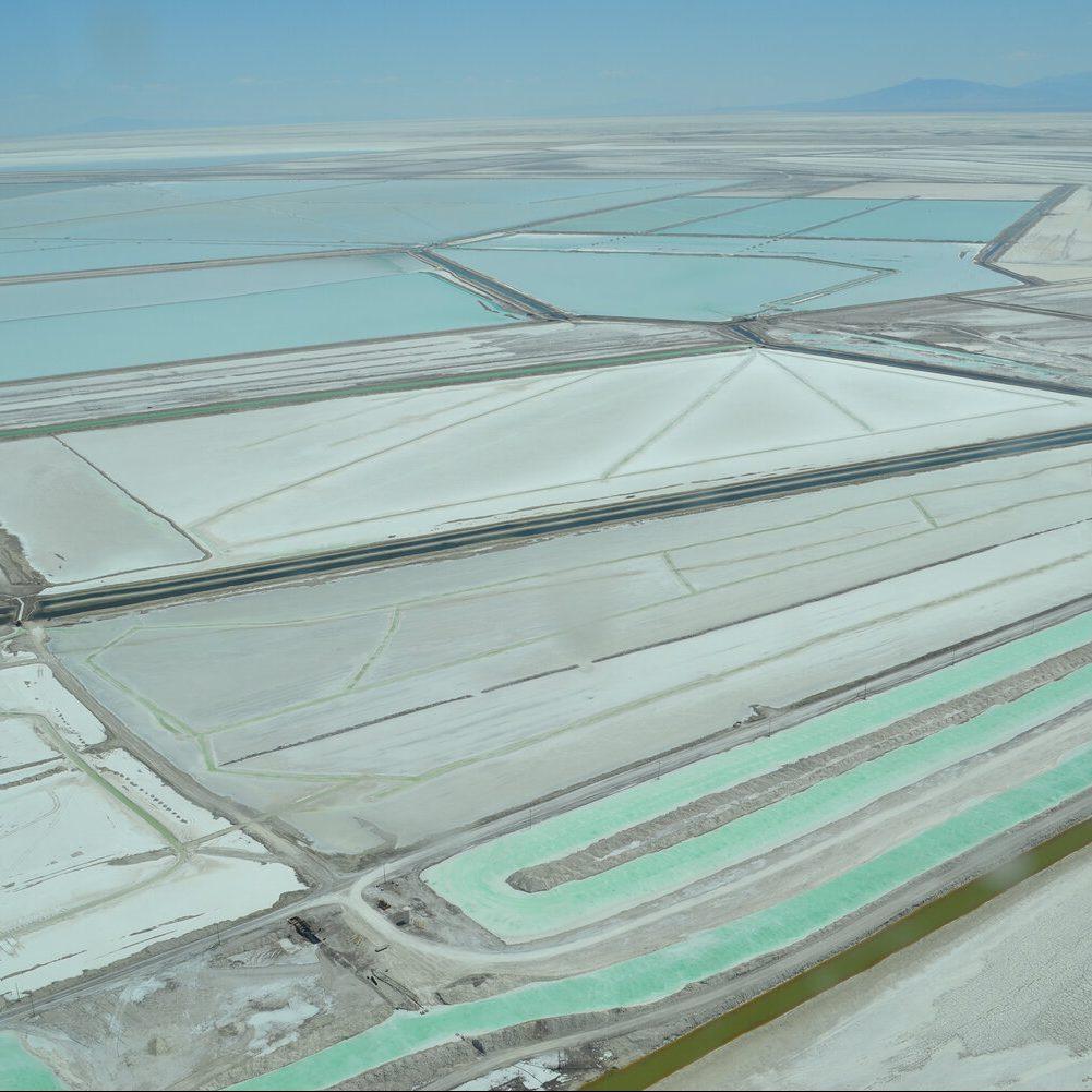 An aerial view of a salt mine.