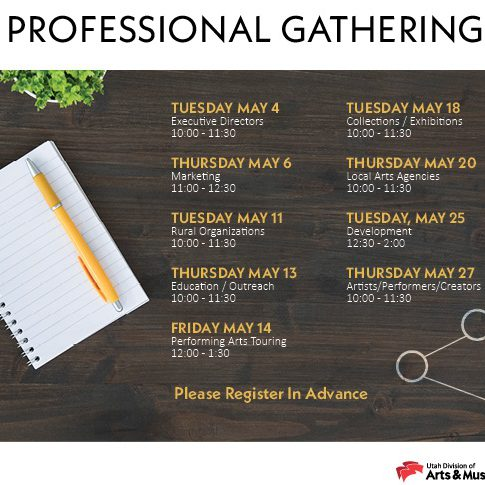 A graphic with details about upcoming professional gatherings.